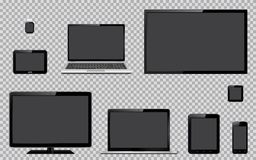Set of realistic TV, computer monitor, laptops, tablet, mobile phone, smart watch and GPS navigation system device with blank empt. Set of realistic TV, computer stock illustration