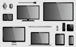 Set of realistic TV, computer monitor, laptops, tablet, mobile phone, smart watch, usb flash drive, GPS navigation system device,. Set of realistic TV, computer royalty free illustration