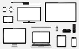 Set of realistic TV, computer monitor, laptops, tablet, mobile phone, smart watch, usb flash drive, GPS navigation system device,. Set of realistic TV, computer Royalty Free Stock Photography