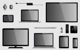 Set of realistic TV, computer monitor, laptops, tablet, mobile phone, smart watch, usb flash drive, GPS navigation system device, Royalty Free Stock Images