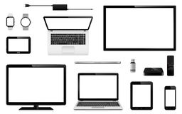 Set of realistic TV, computer monitor, laptops, tablet, mobile phone, smart watch, usb flash drive, GPS navigation system device, Royalty Free Stock Photos
