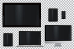 Set of realistic TV, lcd, led, computer monitor, laptop, tablet and mobile phone Royalty Free Stock Photos