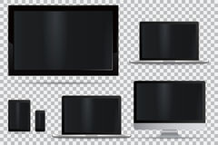 Set of realistic TV, lcd, led, computer monitor, laptop, tablet and mobile phone Royalty Free Stock Photo