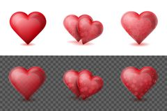 Set of realistic valentine hearts. Elements on the transparent and white backgrounds. Set of realistic valentine hearts. Elements on the white background Royalty Free Stock Photos