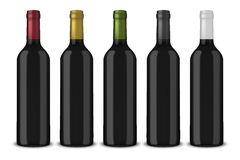 Set 5 realistic vector black bottles of wine without labels isolated on white background. Design template in EPS10. Set 5 realistic vector black bottles of wine Royalty Free Stock Photo