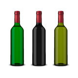 Set 3 realistic vector bottles of wine without labels isolated on white background. Design template in EPS10. Set 3 realistic vector bottles of wine without Royalty Free Stock Image