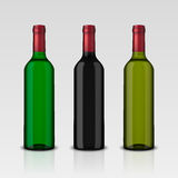 Set 3 realistic vector bottles of wine without labels isolated on white background. Design template in EPS10. Set 3 realistic vector bottles of wine without Stock Image