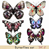 Set of realistic vector butterflies for design Stock Photo