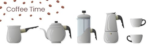 Set of realistic vector of coffee preparation. Cezve, coffee kettle, french press, moka pot and coffee cup for cafe vector illustration