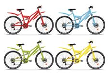 Set realistic vector colorful bicycles different colors. Red, blue, green and yellow metallic bike half-face with many multiple de. Set realistic vector colorful Stock Images
