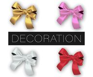 Set of realistic vector decorative silk bows isolated on white background stock illustration