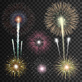 Set of  realistic vector fireworks Stock Photography