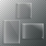Set of Realistic Vector Glass Frame Template. EPS10 Vector Plast Royalty Free Stock Photos