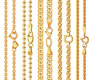 Set of realistic vector golden chains with clasp Stock Image