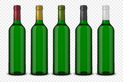 Set 5 realistic vector green bottles of wine without labels isolated on transparent background. Design template in EPS10. Set 5 realistic vector green bottles of Royalty Free Stock Photos