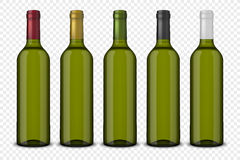 Set 5 realistic vector green bottles of wine without labels isolated on transparent background. Design template in EPS10 Royalty Free Stock Photography
