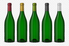 Set 5 realistic vector green bottles of wine without labels  on transparent background. Design template in EPS10. Set 5 realistic vector green bottles of wine Stock Images