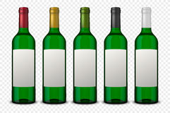 Set 5 realistic vector green bottles of wine with white labels isolated on transparent background. Design template in. Set 5 realistic vector green bottles of Stock Images