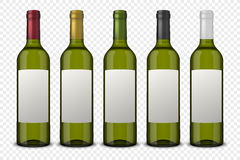 Set 5 realistic vector green bottles of wine with white labels isolated on transparent background. Design template. Set 5 realistic vector green bottles of wine Stock Image