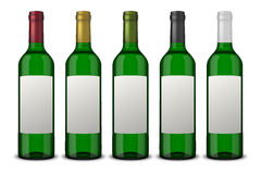 Set 5 realistic vector green bottles of wine with white labels isolated on white background. Design template in EPS10. Set 5 realistic vector green bottles of Stock Photo