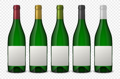 Set 5 realistic vector green bottles of wine with white labels  on transparent background. Design template in. Set 5 realistic vector green bottles of wine with Stock Images