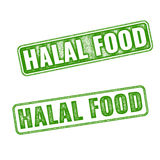 Set of realistic vector Halal Food rubber stamp Stock Photography