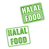 Set of realistic vector Halal Food rubber stamp Stock Image