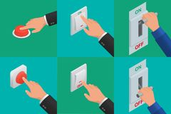 Set of realistic vector hands pressing buttons. Isometric icon of electric knife switch in the on/off position. Toggle switch. High voltage. Electrical circuit Stock Photography