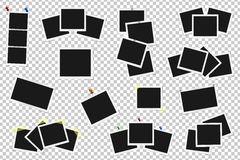 Set of realistic vector photo frames on sticky tape, pins and rivets. Template photo design. Vector illustration Royalty Free Stock Photography