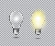 Set of realistic vector transparent light bulbs royalty free illustration