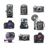 Set of realistic vintage retro camera and digital photo camera. Vector illustration. Stock Photography