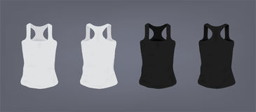 Set of realistic white and black unisex sports slim-fit t-shirt. Front and back view. Realistic vector illustration Stock Image