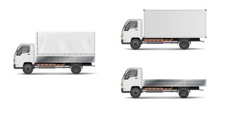 Set of realistic white cargo vehicles. vector illustration with heavy truck, trailer, lorry, delivery van . Side Stock Photo