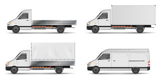 Set of realistic white cargo vehicles. vector illustration with heavy truck, trailer, lorry, Mini bus, delivery van. Isolated. Side view mockup. EPS 10 Stock Image