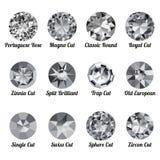 Set of realistic white diamonds with round cuts Stock Photo