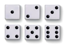 Set of  realistic white dice isolated on white background.  vector illustration