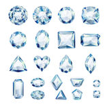 Set of realistic white jewels. Diamonds isolated. Stock Images