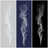 Set of realistic white smoke. Set of white smoke on transparent, blue and black background Stock Images