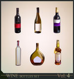 Set of realistic wine bottles Royalty Free Stock Photo