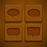 Set of realistic wooden speech bubbles Royalty Free Stock Image