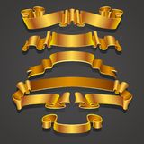 Set of Realistic yellow and golden ribbons. Element for decoration gifts, greetings, holidays, Valentines Day design royalty free illustration