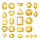 Set of realistic yellow jewels. Beryls isolated. Royalty Free Stock Photo