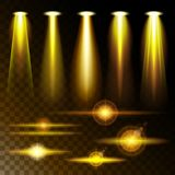 Set realistic yellow light shining bright glare of lamps, a   various shapes and projections on  dark background. Set realistic yellow light shining bright glare Stock Image