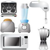Set realistische, ausführliche Küchegeräte Stockfoto