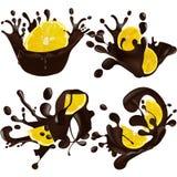 Set realistyczna czekolada bryzga wpólnie cytrynę odizolowywającą na białym tle również zwrócić corel ilustracji wektora Cytryna  ilustracji