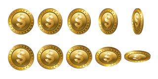 Set realistyczne 3d dolara złociste monety Trzepnięcie Różni kąty Obrazy Stock