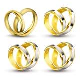 Set realistyczne wektorowe ilustracje złociści pierścionki zaręczynowi z elementami srebro, biały złoto ilustracja wektor