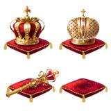 Set realistyczne wektorowe ilustracje, złote królewskie koron ikony, królewski berło i czerwieni aksamitne ceremonialne poduszki, ilustracji