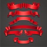 Set Realistyczni czerwoni faborki Element dekoracja prezenty, powitania, wakacje, walentynka dnia projekt wektor royalty ilustracja