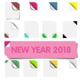 Set realistyczni kolorowi papierów kąty odizolowywający na białym tle Skarbikowany białego papieru kąt dla ulotki Zdjęcia Stock